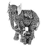 Elefanten-Figur, Mutter mit Kind, silberfarben