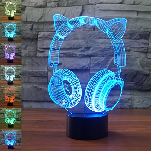 Katze Ohr Kopfhörer 3D Lampe Optische Illusion Nachtlicht, gawell 7Farbwechsel Touch Schalter Tisch Schreibtisch Dekoration Lampen Perfect Christmas Geschenk mit Acryl Flach und ABS Boden & USB-Kabel Creative Spielzeug