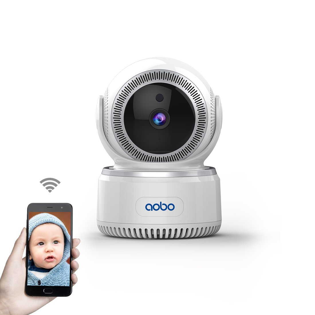AOBO WiFi Camera HD Nanny Cam Baby Monitor IP Camera Wireless Surveillance Camera with Pan Tilt Motion Detection Two Way…