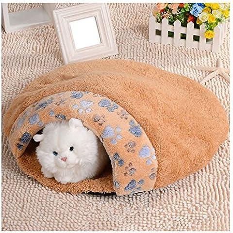 Venta caliente 1 unid Productos Para Mascotas Suave y Cálida Casa Gato Saco de dormir Precioso Hamburguesa Perro Perrera Cama Del Animal Doméstico Tamaño (M, Marrón)