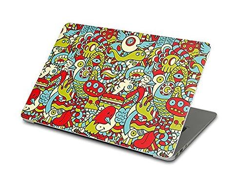 Apple MacBook Air 13 Autocollant | Film amovible arrière PC Portable Ordi | Housse de protection - décorer ultrabook ordi | Motif Monster Doodle