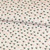 Baumwollstoff Herzen grau rosa Kinderstoffe - Preis gilt für 0,5 Meter -