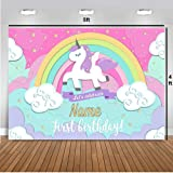Simply Good Unicorn Theme Birthday Party Backdrop with Birthday Boy/Girl Name, Age and Photo (4ft Height x 5ft Width)