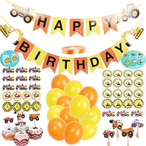 foci cozi BAU-Geburtstagsfeier-Versorgungen 1 Set Fahrzeug Happy Birthday Banner 24 Luftballons 24 Cupcake-Aufsätze, 6er-Pack Dessert- und Bonbonaufkleber