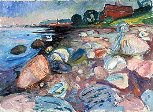 Das Museum Outlet-Munch-Shore mit Rot House-Canvas Print Online kaufen (101,6x 127cm)