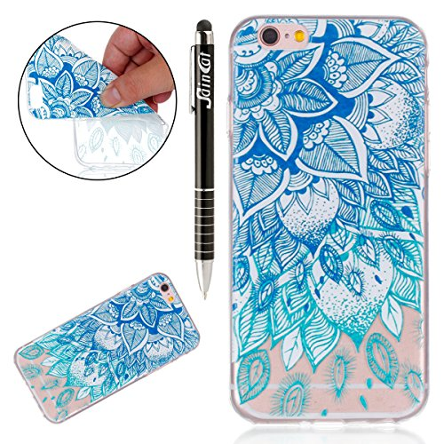 Custodia iPhone 6 Plus, iPhone 6S Plus Cover Silicone Trasparente, SainCat Cover per iPhone 6/6S Plus Custodia Silicone Morbido, Shock-Absorption Custodia Ultra Slim Transparent Silicone Case Ultra So Foglie Blu