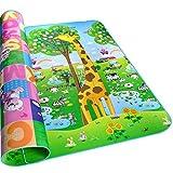HBF Alfombras Niños Ambas Caras 200 x 180 CM Alfombra Para Gatear Alfombra Infantil Impermeable Dibujo Animado Alfabeto Patrón Para Niñas