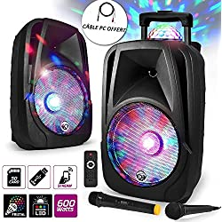 "Enceinte mobile Sono DJ PA Karaoké 600W XTREMBALL 12"" LED USB-BT-SD- PC + 2 Micros + Effet LED RVB sur Boomer"