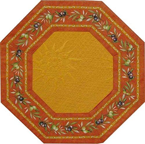 jojo la cigale - Achteckiges Teppich LE CLOS DES OLIVIERS Pikee 90 cm in terrakotta