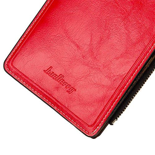 Sasairy Portafoglio Donna in Pelle Sintetica Bifold Soldi Lunghi dell'organizzatore Della Borsa Multi Carta di Credito Holder con Pocket Zipper-Rosso Rosso