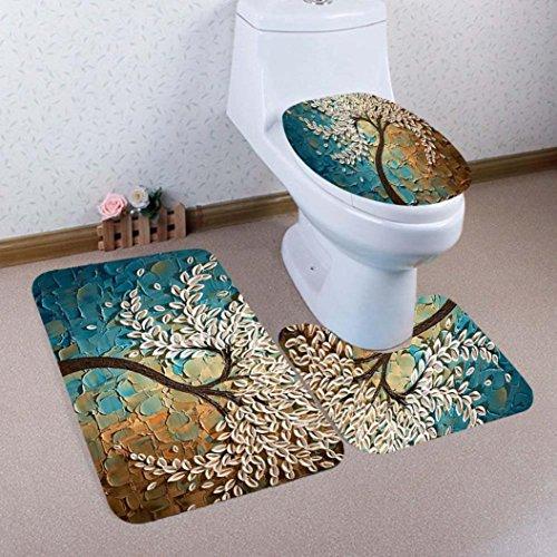Warm, Soft & Comfy Cashmere Toilet Lid Tank Cover Toilet Seat Cover Toilet Mat Bathroom Non-Slip Pedestal Rug Bath Mat Set 3pcs by Quistal (B)