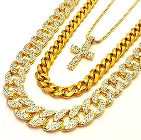 Iced Out Lab Diamond Gold Finish Miami Cuban Link Cross Pendant Chain Combo Set of 3 Necklaces by Bitter Sweet Store