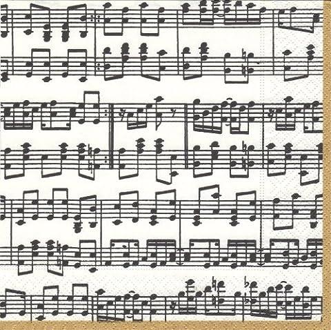 Caspari 11020C Cocktail Musica Paquet de 20 Serviettes en Tissu Noir/Blanc 12,5x12,5x0,02 cm