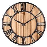Wanduhr, FOKOM Holz Lautlos Vintage Wanduhr Uhr Wall Clock-Ø 40cm