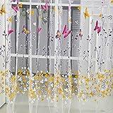 Sixcup 1PSC porta finestra balcone fiori farfalla stampa tulle voile sheer tende a pannello drappo mantovana 270cm x 100cm Purple