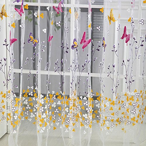 sixcup 1psc Tür Fenster Balkon Blumen Print Tüll Voile Vorhang Panel Fall Querbehang 270cm x 100cm (Blumen Tüll Aqua Dekoration)