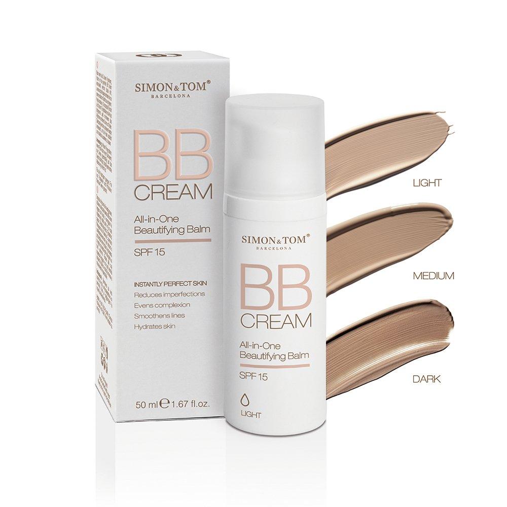 Simon & Tom – BB Cream – 3 Tonos – 50ML – Hidrata y alisa la piel con protección SPF 15 (Claro)