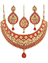 I Jewels Gold Plated Necklace Jewellery Set For Women (M4090RL)