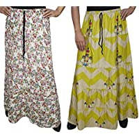 Boho Chic Womens Skirt A- Line Printed Tiered Flared Maxi Skirts 2 Lots