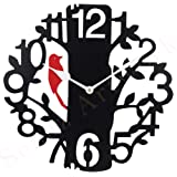 Black Red Wall Clocks for Bedroom | Wall Clock for Living Room | Designer Wooden Treebird Clocks for Home/Wall Decor 10 Inch