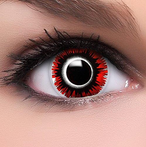 Katze Kostüm Up Make Maske Mit (Farbige Kontaktlinsen 'Harakiri' in schwarz & rot & weiß, weich ohne Stärke, 2er Pack inkl. Behälter und 10ml Kombilösung - Top-Markenqualität, angenehm zu tragen und perfekt zu Halloween oder)