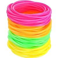 72 Pieces Bracelets d'Années 80, Bracelets de Gelée en Silicone, Bracelets Lumineux, Bandes de Gomme pour Remplissage de…