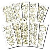 Kreative Produkte doppelt geprägt craftstickers Eule, Aufkleber, Gold