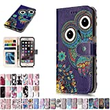 LA-Otter Coque Apple iPhone 7 8 Hibou Flip Case Housse Etui à Rabat Folio Motif...