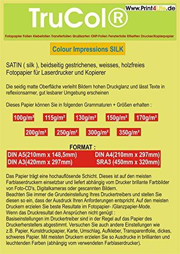 BEIDSEITIG seidenmatt 50 Blatt DIN A5 Silk Coated 300g /m² Fotopapier Satin für Farb- LASERDRUCKER und KOPIERER. - High-performance-farbe-laser