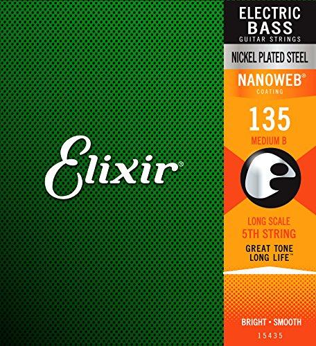 Elixir 15435 Electric Bass String Nanoweb Coating .135 Long Scale - 5-string Bass Electric
