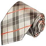 Paul Malone Krawatte extra lange 165cm beige rote schottenmuster Seidenkrawatte schmale 6cm