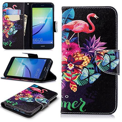 Ooboom Huawei Y6 Pro 2017 Hülle Magnetisch Flip PU Leder Schutzhülle Handy Tasche Case Cover Kartenfächer Kartenfach für Huawei Y6 Pro 2017 - Vogel Blumen