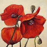 Bild Blumen Mohnblumen modern Malerei Kunst Original Ölmalerei Gemälde 15x15 cm