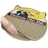 BlackHole Vorleger für Katzentoiletten ® - 57.5cm X 52.5cm - Katze Kopf geformte Doppelte Struktur Matte (Beige)