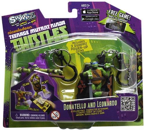 Preisvergleich Produktbild Sablon 12206 - SwappZ Teenage Mutant Ninja Turtles Spielfigur Doppelpack City Donatello & Stars Leonardo, mit drei Power-up Münzen