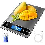 Bilancia Cucina Digitale, 15 kg 33 lbs, Precisione 1g REEXBON Bilancia Digitale da Cucina in Acciaio Inox con Funzione Tara,