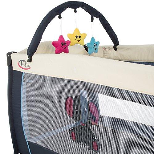TecTake Kinder Reisebett höhenverstellbar mit Babyeinlage blau