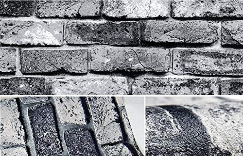 KYKDY Vintage Shabby Brick Deco Vinyltapetenrolle Brick Stone Faux Realistische PVC Papel de Parede für Zuhause Hintergrundwand, dunkelgrau, 5.3㎡ -