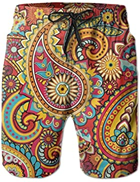Floral Paisley Pattern Men's/Boys Casual Quick-Drying Bath Suits Elastic Waist Beach Pants with Pockets
