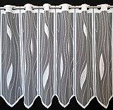 Scheibengardine mit Tropfenmuster 50 cm Hoch | Breite der Gardine durch gekaufte Menge in 14 cm Schritten wählbar (Anfertigung Nach Maß) | weiß | Vorhang Küche Wohnzimmer