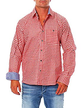 Engelleiter Herren Trachten Hemd Oberhemd Rot Weiß Kariert Trachtenhemd Gr. L