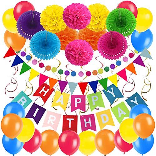 Zerodeco Geburtstag Partei Dekoration, Happy Birthday Wimpelkette Banner Girlande mit Pompoms Papier Girlande Fans Fächer Dreieckige Wimpel Spiral Girlanden und Luftballon - Mehrfarbig