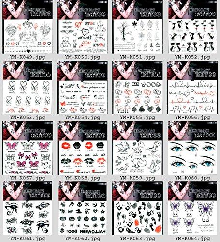 (16pcs gefälschte Tätowierungen in einem Paket, einschließlich Innere, Bären, Bäume, Blätter, Katzen, Elektrokardiogramm, Schmetterlinge, Lippen, Augen, Abdrücke, Halloween boo, etc.)