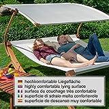 Textil Holz Doppel Gartenliege mit Sonnendach und Kissen von Ampel 24 - 6