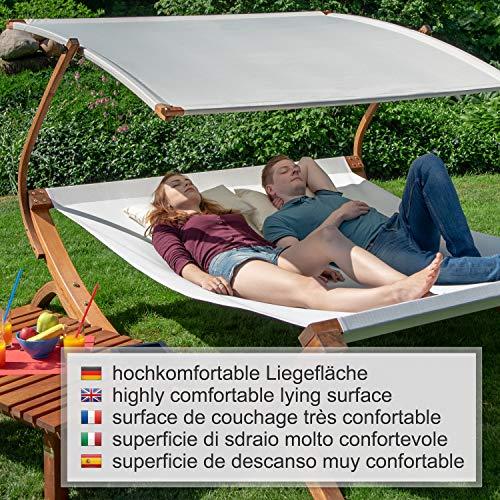 Ampel 24 Doppel-Sonnenliege Panama | 100% wetterfeste Gartenliege | verstellbares Sonnendach | Liege weiß für 2 Personen - 6