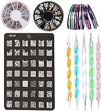 Kit de Accesorios de Decoración de Uñas - 30 x Rollos de Cintas Adhesivas para Uñas, 1 x Placa Plantilla, 2 x Cajas de Stickers / Pegatinas, 5 x Plumas para Hacer Puntitos sobre Dibujos de las Uñas