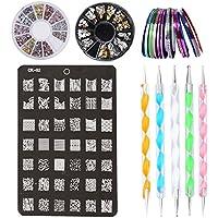 Kit de Accesorios de Decoración de Uñas Nail Art - 30 x Rollos de Cintas Adhesivas para Uñas, 1 x Placa Plantilla, 2 x Cajas de Stickers / Pegatinas, 5 x Pinceles para Hacer Puntitos sobre Dibujos de las Uñas