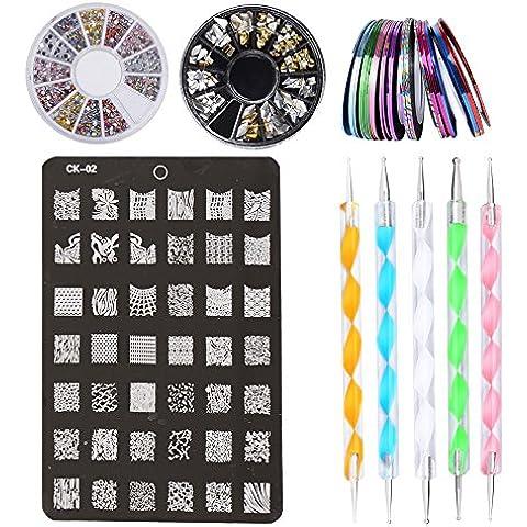 Kit de Accesorios Hermosos de Decoración de Uñas - 30 x Rollos de Cintas Adhesivas para Decoración de Uñas, 1 x Placa que Estampa la Impresora de Uñas, 2 x Cajas de Diamantes de Imitación, 5 x Plumas para Hacer Puntitos sobre Dibujos de las