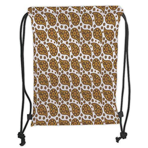 Juzijiang Drawstring Sack Backpacks Bags,Ethnic,Bohemic Paisley Floral Shapes Golden Raindrop Seem Pattern with Blossoms,White and Marigold Soft Satin Closure,5 Liter Capacity,Adjustable. Paisley-satin-band