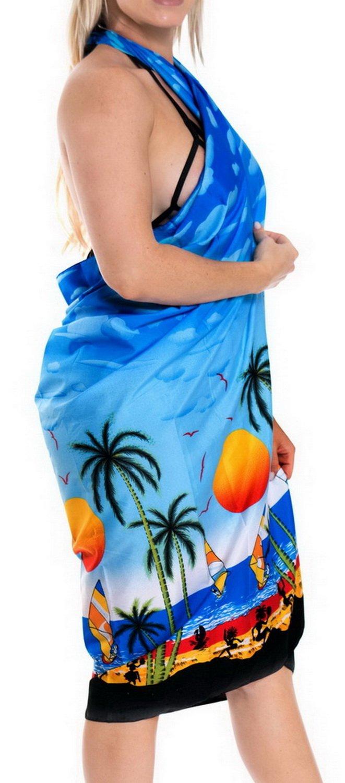 LA LEELA Donne Morbido Costume da Bagno Luce Involucro della Spiaggia Sarong Stampati 3 spesavip